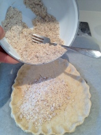 Almond mixture onto the pre-baked crust