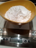 Weighing the confectioners sugar
