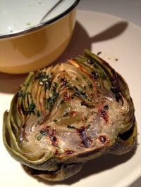 Close up of a beautiful grilled artichoke