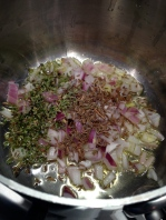 Onions, garlic, and herbs in olive oil