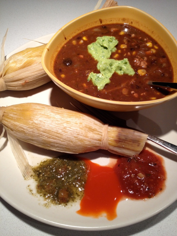 "Three sauces and ""Three Brothers Guacamole"" as a garnish for the Chili."