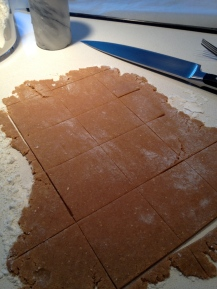 Cut into squares - bake the scraps if they're being used for crust crumbs