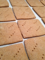 Baked graham crackers ready to break into crumbs