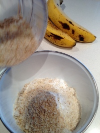 "Almond ""flour"" added to the dry ingredients"