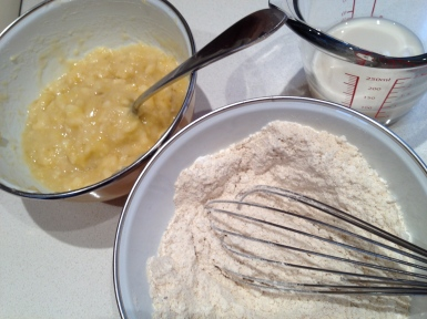 Mashed bananas, almond milk and blended dry ingredients ready to go