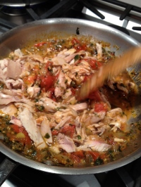 The last meat that came off before boiling the carcass (Rustic Chicken Ragout)