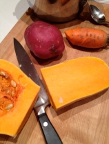 Preparing to par-boil the potato and squash
