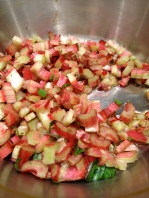 Cooking the chopped chard in olive oil