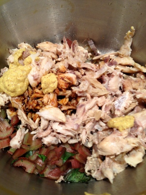 Adding the chicken and a little more mustard and molasses to the chard for a twist on Nick's Enchiladas