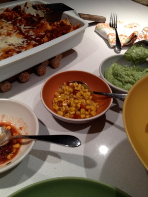 Tomato salsa, corn salsa, and guacamole toppings