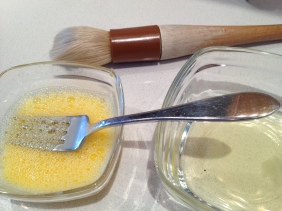 Making the egg wash - gf dedicated brush behind
