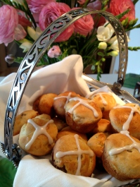 Spring flowers and Hot Cross Buns