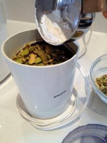 Grinding the pistachio flour