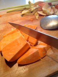 Cutting the sweet potato