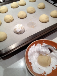 Gently dusting with confectioners' sugar
