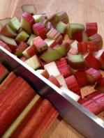 Chopping the rhubarb