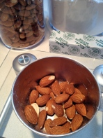"Weighing the almonds to make the almond ""flour"""