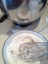 Whisking in the almond flour