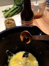 Mustard, Worcestershire Sauce into the mix
