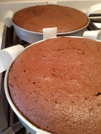 Mid-ganache: cakes layers out are done