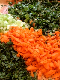 Vegetables ready to go into the bowl