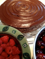 Served with raspberries and fresh cherries
