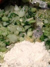 Adding the GF flour to create a roux
