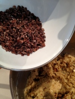 Adding the cacao nibs
