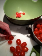 Cutting the grape tomatoes