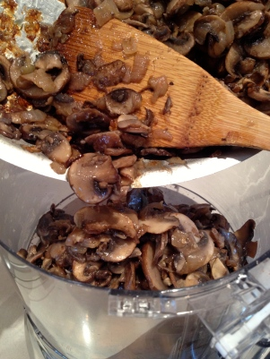 Half the sauted mushrooms