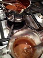"""Hot """"chocolate milk"""" into the egg mixture"""