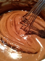 """Whisking to blend in the espresso """"syrup"""""""
