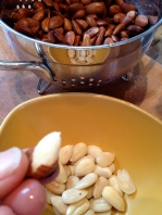Pushing the slippery skins off the almonds: easy