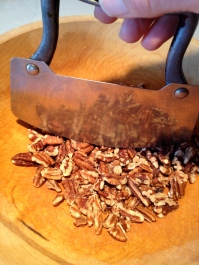 Chopping the pecans