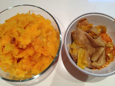 Fresh roasted (squash) and skins for the compost