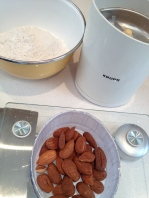 Weighing the almonds before grinding