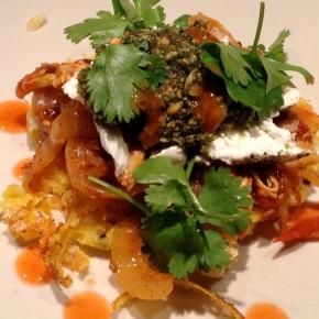 Savory Corn Tortillas with Spicy Chicken Ragout & PepitasPesto