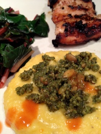 Topped with Pumpkin Seed Pesto served with grilled chicken and steamed chard