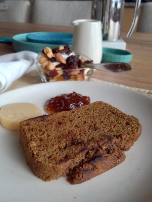 Toasted for breakfast with handmade butter and fig jam