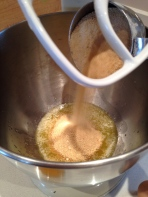 Adding the maple sugar to the warm butter