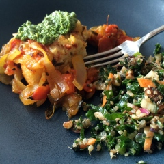 Lunch, with a little pesto and kale salad
