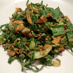 Kale Carrot Salad with Goldenberries and MintPesto