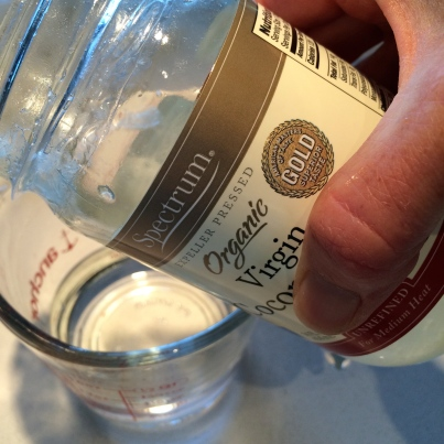 Measure the coconut oil (warm day so it was pourable)