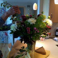 I got to use my own Simon Pearce vase