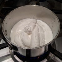 Heating the coconut milk