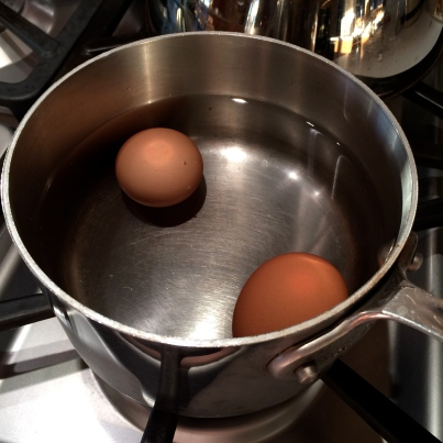 Setting the eggs to boil