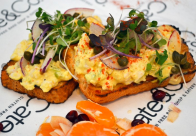 Open faced egg salad on toast