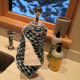 "Cloth ""paper"" towels at the sink"