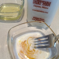 Whisking the yolk with cream