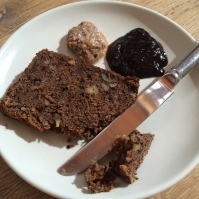 With fig jam and almond butter